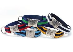 for the pooch when he gets bigger! Layered Stripe Dog Collar with Laser Etched by LaserPets on Etsy, $28.99