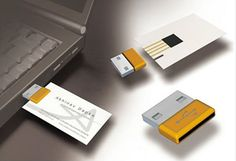 Another concept with a card that includes a magnetic strip, which simply plugs into a USB adapter which in turn syncs the new data with your Address book.