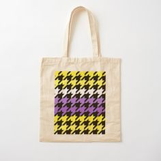 Printed Tote Bags, Cotton Tote Bags, Reusable Tote Bags, Hounds Tooth, Canvas Prints, Art Prints, Purple, Pink, Shopping Bag