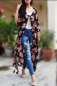 Buy White Printed Long Shrug by Colorauction - Online shopping for Shrugs in India Western Dresses, Western Outfits, Indian Dresses, Indian Outfits, Kurta Designs, Kimono Fashion, Fashion Dresses, Long Shrug, Hijab Stile