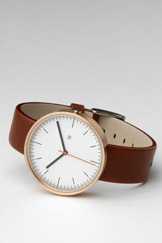 """Uniform Wares 200 series wristwatch: rose gold featuring Italian calf leather. This goes in """"design"""" because it belongs there."""