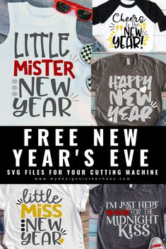 Free New Year's SVG Files - My Designs In the Chaos New Year 2020, New Years Eve, Silhouette Projects, Silhouette Cameo, Free Silhouette, New Years Shirts, Independance Day, Glitter Heat Transfer Vinyl, Diy Cutting Board