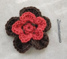 Red and Brown Crochet Hair Flower accessory by ThirdVenue on Etsy, $5.75