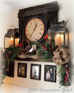 "Prim Christmas ""Mantel""...with old shelf, clock, lanterns &  pine."