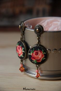 Flower embroidered earrings/rustic earrings with roses/textile dangle…