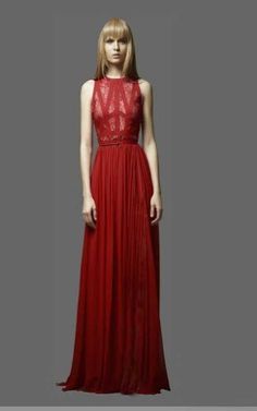 Bcbg Elie Saab Terra Lace Top Red Chiffon Prom DressOutlet