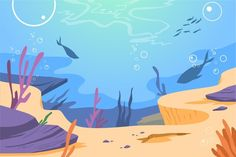 Under The Sea Background, Fish Background, Underwater Background, Coral Background, Cartoon Background, Coral Watercolor, Wreath Watercolor, Under The Sea Drawings, Fish Under The Sea