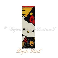 Peyote Pattern-WITCH Hello Kitty - Beaded Peyote Bracelet Cuff Pattern-Halloween
