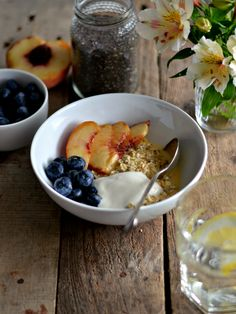 Orange overnight oats with yogurt blueberries and peach