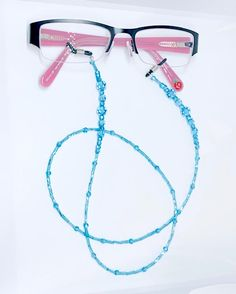 This beautiful Eye glasses chain is handmade with seed beads and Aquamarine Swarovski Crystals - length Aquamarine is the birthstone for March. Gift wrapped in an organza bag this item makes a stunning gift and helpful accessory. Swarovski Gifts, Swarovski Crystals, Gifts For Mum, Mother Day Gifts, Aquamarine Wedding, Wine Glass Charms, Personalised Gifts, Jewelry Patterns, Organza Bags