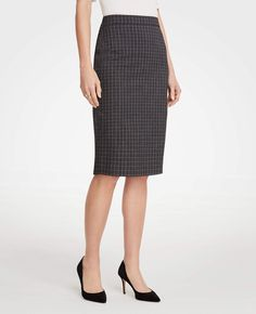 Sketched Plaid Pencil Skirt | Ann Taylor