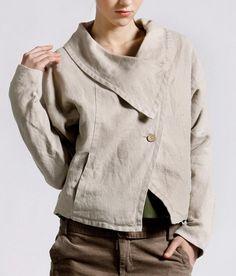 Big Collar Side Pockets Linen Coat