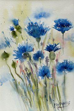 Blauwe Korenbloemen, aquarel van bloemen