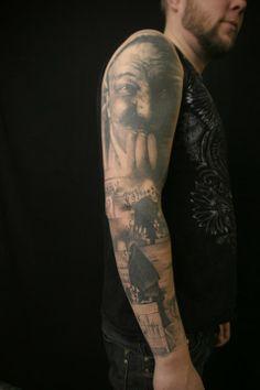 Portrait Tattoos, Sleeve Tattoos, Tattoo Artists, Black And Grey, Tattoo Sleeves, Arm Tattoo, Tattoo Portrait, Arm Tattoos