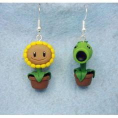 plants vs zombie earrings,pendientes,video juegos,video game,