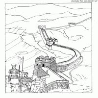 the great wall of china coloring page architecture - Great Wall China Coloring Page