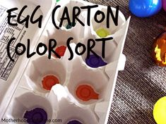 Egg Carton Color Sort with plastic easter eggs - busy bag idea