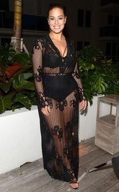 Ashley Graham from The Big Picture: Today's Hot Pics  The Sports Illustrated cover model looks beautiful and confident in a sheer lace dress in Miami.