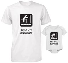 FATHER AND BABY SET T-SHIRT AND BODYSUIT SET DAD AND SON FISHING BUDDIES SET 2 #Unbranded Father And Baby, Baby Set, Sons, Fishing, Bodysuit, Mens Tops, T Shirt, Clothes, Onesie