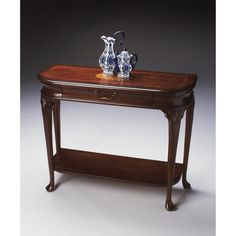 Plantation Cherry Console Table - Butler Specialty 2110024 Selected solid woods, wood products and choice veneers. Features a cherry veneer top with a linen-fold inlay design of maple, walnut and cherry veneers. The top border is a cross grain cherry ven Furniture Deals, Table Furniture, Cool Furniture, Living Room Furniture, Sofa End Tables, Entryway Tables, Traditional Console Tables, Consoles, Cool House Designs