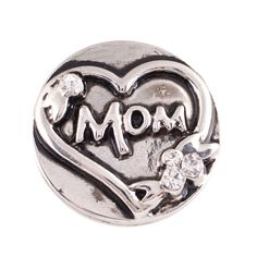 1 PC - 18MM Mom White Rhinestone Silver Charm for Candy Snap Jewelry KC9613 CC2216