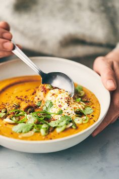 Curried Pumpkin and Lentil Soup (Vegan) — Evergreen Kitchen - Curried Pumpkin & Lentil Soup (Vegan) Vegan Lentil Soup, Lentil Curry, Roast Pumpkin Soup, Soup Recipes, Vegetarian Recipes, Healthy Recipes, Healthy Food, Vegetarian, Vegetarian Food