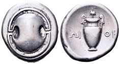 AR Stater. Greek, Boeotia, Thebes. Circa 379-371 BC. Cf.SNG Delepierre 1318. Good VF. Price realized (2.7.2016): 262 EUR.