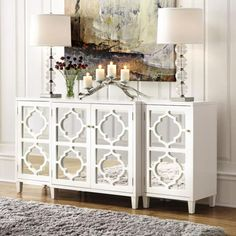 Home Decorators Collection Reflections White Mirrored Console Table Set – The Home Depot - mentor. Mirrored Sideboard, Sideboard Decor, White Sideboard, Credenza, Gray Console Table, Console Table Living Room, Console Cabinet, White Home Decor, Indian Home Decor