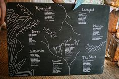 Lord Of The Rings-inspired seating chart. James and Jade's Magical Woodland Wedding by Mark Tierney