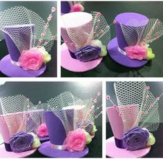 bunay's little corner: Fun DIY: Mini Top Hat Headpieces Hat Crafts, Diy And Crafts, Crafts For Kids, Paper Crafts, Crazy Hat Day, Crazy Hats, Mad Hatter Party, Mad Hatter Tea, Mad Hatters