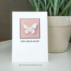 Karten mit Schmetterlingen Stampin up schmetterlingsduett schmetterlingsglück stempelstanzeundpapier-2 Butterfly Crafts, Sympathy Cards, Stampin Up, Place Cards, Card Making, Place Card Holders, How To Make, Instagram, Feathers