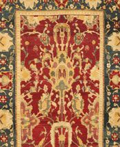 Antique Agra Rug DIMENSIONS: 4.0 X 6.11 STYLE: DECORATIVE ORIGIN: INDIAN / AGRA TIME PERIOD: 19TH CENTURY ROOM SIZE: SMALL SIZE (3X5 TO 5X8)