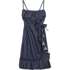 RED Valentino Ruffled stretch-denim dress (€185) ❤ liked on Polyvore featuring dresses, vestidos, blue, casual dresses, tie dress, frill dress, blue fitted dress, flounce dress and loose summer dresses