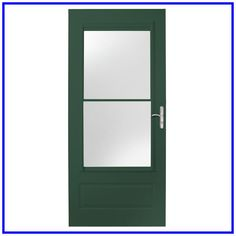 EMCO 32 in. x 80 in. 400 Series Forest Green Universal Self-Storing Aluminum Storm Door with Nickel Hardware Aluminum Storm Doors, Wood Storm Doors, Glass Screen Door, Glass Front Door, Screen Doors, Green Front Doors, Black Doors, Porch Tile, Wooden Lampshade