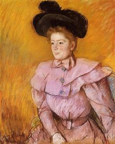 Woman in a Black Hat and a Raspberry Pink Costume - Mary Cassatt, 1900
