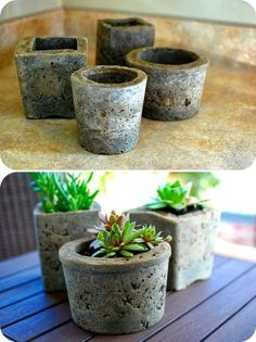 DIY: hypertufa pots - what a brilliant idea. As an enthusiastic gardener, I'm going to need lots of pots. What better way to get them than make your own pretty tufa pot :)