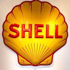 Vintage Shell Gas Sign #vintage #restoration #gasstation #retro #museum #collectibles #nostalgia #shellgas #gaspump #auto See more historical images at blog.retroplanet.com