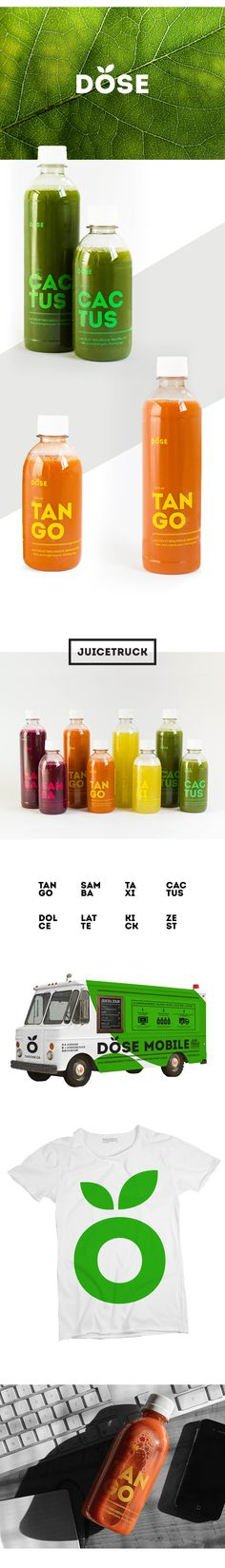 """The """"Dose"""" looks like it could be an iconic juice logo, with leaves to allude to the product's ingredients.  As for the flavors, the words are broken into two separate lines which is very unique but still understandable."""