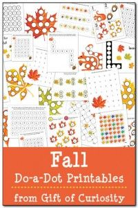 Download your free Fall Do-a-Dot Printables pack to get access to 24 fall-themed do-a-dot worksheets that will help your kids work on one-to-one correspondence, shapes, colors, patterning, letters, numbers, and more! #DoADot #freeprintables #fall || Gift of Curiosity