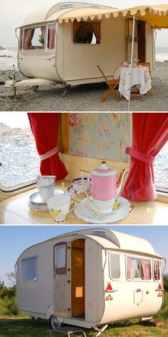 """beach  glamping    A note from Backroad Gypsy: Okay, I love vintage campers...who doesn't, amirite? But, you'll NEVER catch me using the word """"glamping"""". Go die already."""