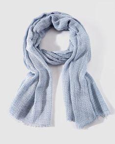 Fular de algodón básico azul