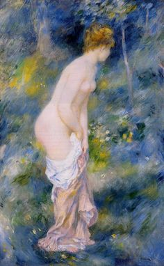Standing Bather, Pierre Auguste Renoir  Another print that I had in my bathroom for years.  ;-)