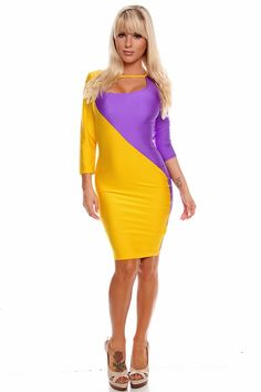 This sexy body-con dress features a round neckline, quarter sleeves, 2 tone color design. Stretch materials. Measures at 36.5 inches long. Polyester/Spandex. Made in USA.  www.lollicouture.com #cute #dress #fun #flirty #sexy #fashion #fashionista #style #trendy #stylish #worldoffashion #worldwidefashion #shop