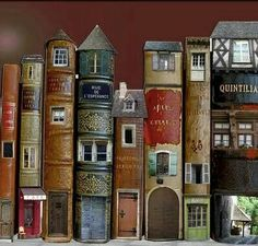 Book Art Is Awesome: Around The Home Fairy books (doll house doors and windows in vintage books) library Altered Books, Altered Art, Book Spine, Book Sculpture, Paper Sculptures, Fairy Doors, Book Folding, Miniature Houses, Miniature Dolls