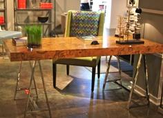 Michael Weiss for Vanguard H/W 301 N Hmlton St What a stunning desk with beautiful exotic burl top. Craft Room Office, Home Furnishing Stores, Furniture Market, Interior Decorating, Sleek Desk, Steel Desk, Art Deco Furniture, Burled Wood, Bernhardt Furniture
