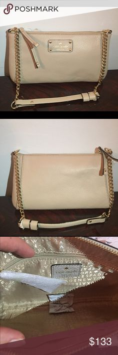 """KATE SPADE ADELA SHOULDER BAG 📍FIRM PRICE 📍 NWT Kate Spade shoulder bag. Very elegant. Gold tone hardware details. One zipper and two slip interior pockets. Chain strap 24"""" . kate spade Bags Shoulder Bags"""