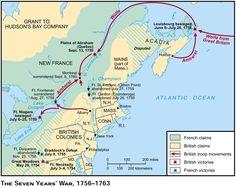 Carte des grands mouvements de troupes anglaises et des grandes batailles lors de la Guerre de 7 ans en Nouvelle-France.