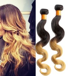 50g/Bundle 1b27# 2 Tone Ombre Body Wave Real Human Hair Extension Indian Wefts #WIGISS #HairExtension