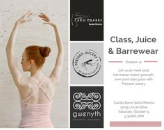 It's Pink October!  Come meet as @ CardioBarre Santa Monica this Saturday Oct 11 for Class, Pressed Juicery, and Ballet Pink  Barrewear by me.  xo gwenyth