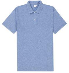 Sunspel Denim Melange Jersey Polo Shirt-$120.00